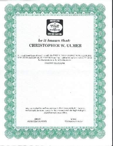 Christopher's certificate