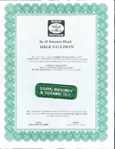 Dale's stone, masonry & tile certificate