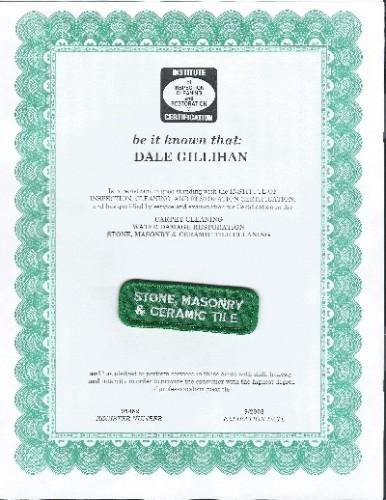 Dale's stone, masonry & tile certificate