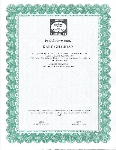 Dale's carpet cleaning certificate