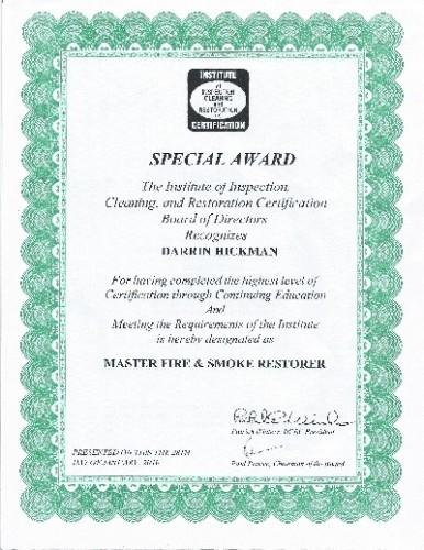 Darrin's master fire & smoke certificate