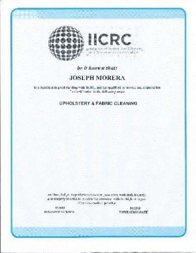 Joseph's upholstery and fabric cleaning certificate