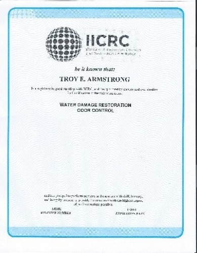 Troy's water damage odor control certificate