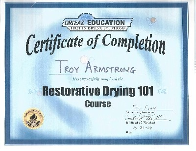 Troy's restorative drying certificate