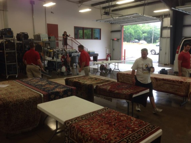 rug cleaning in the shop